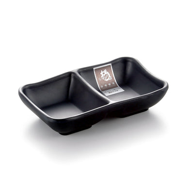 Matt Black Divided Melamine Sushi Sauce Dish JWT59MS
