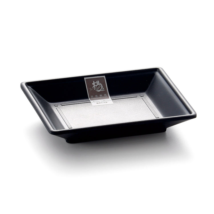 5.25 Inch Black Matte Rectangular Melamine Food Plate LJP1055MS