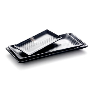 8.5 Inch Black Matte Rectangular Melamine Dinner Plates M414972MS