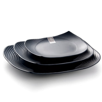 7.75 Inch Black Matte Irregular Melamine Dinner Plates M415012MS