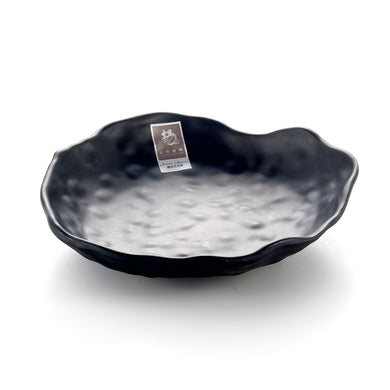 8 Inch Black Matte Irregular Melamine Food Plate YG140002MS