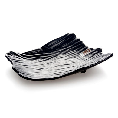 12 Inch Black Matte Irregular Melamine Food Plate YG140011MS