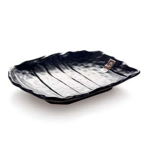 10 Inch Black Matte Irregular Melamine Food Plate YG140012MS