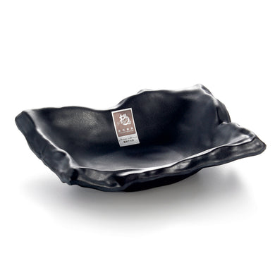 8 Inch Black Matte Irregular Melamine Food Plate YG140013MS