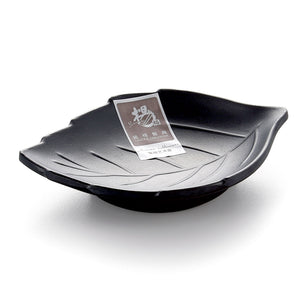 Matt Finish Black Melamine Leaf Shaped Dish YG140027MS