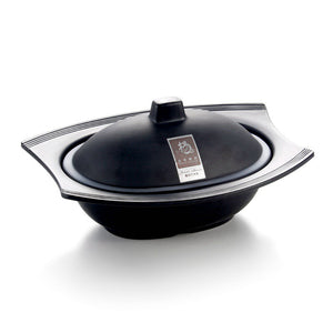 8 Inch Matte Black Melamine Oval Double Ear Bowl with Lid YG140075SZMS
