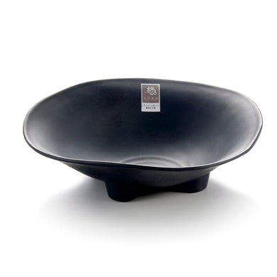 9.75 Inch Matte Black Melamine Irregualr Bowl with Feet YG140090MS