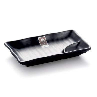 7.8 Inch Black Matte Melamine Divided Plate YG140124MS