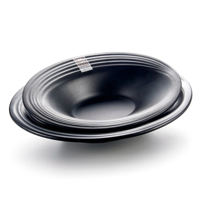 10 Inch Matte Black Melamine Oval Dinner Bowls YG142058MS
