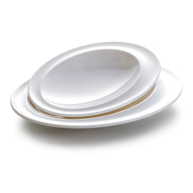 11 Inch White Oval Melamine Charger Plates JMC152YJC