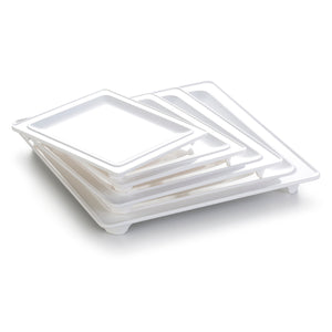 7 Inch White Rectangular Melamine Dinner Plate with Feet YJ050YJC