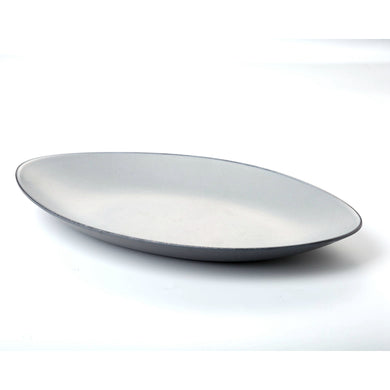 13.7 Inch Grey Boat Shaped Melamine Fish Plate