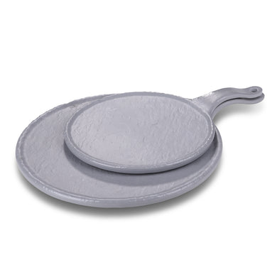 15 Inch Gray Matt Round Melamine Plate with Handle JM16909TKHSMS