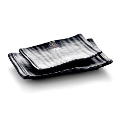 8 Inch Black Matt Rectangular Melamine Food Plates W54008TKHSMS