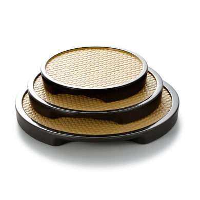 7.6 Inch Rattan Round Melamine Food Serving Trays 19050KBHU
