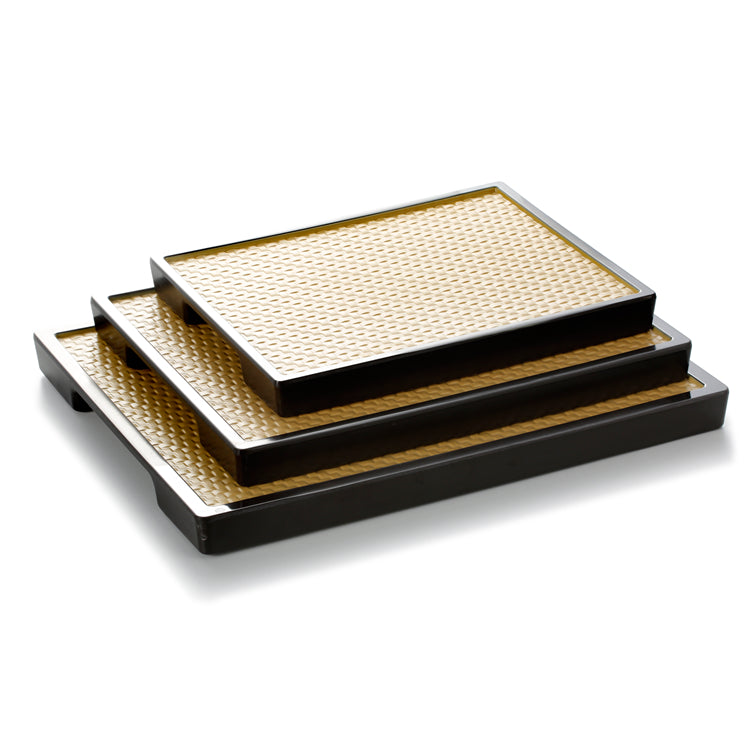 11 Inch Square Rattan Yellow Melamine Food Serving Trays 19056KBHU