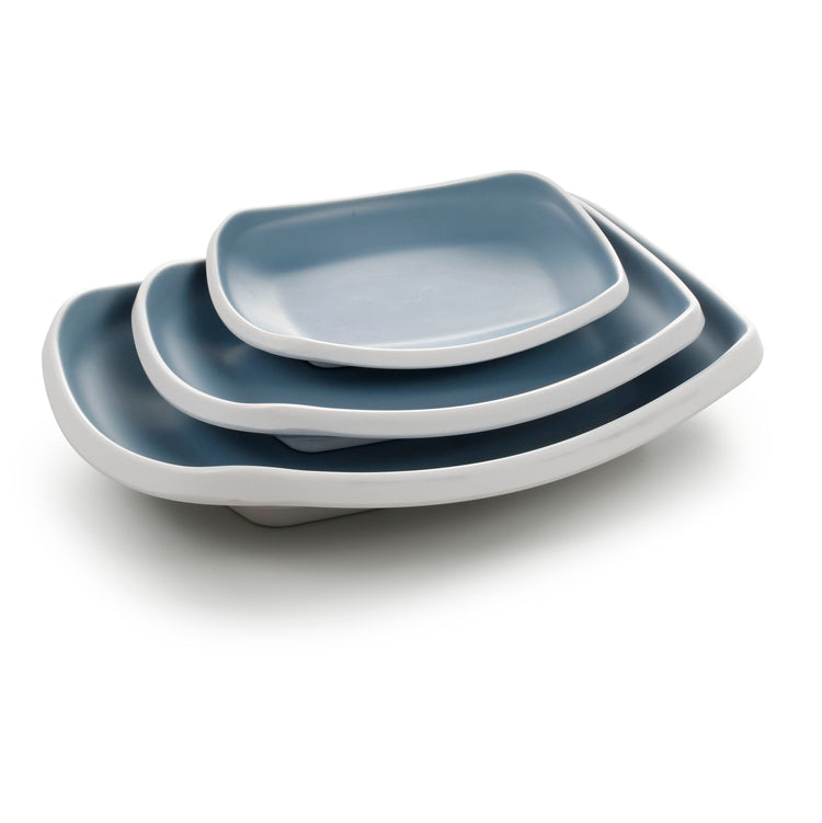 10 Inch Blue and White Rectangular Melamine Deep Plates 25021LBSS