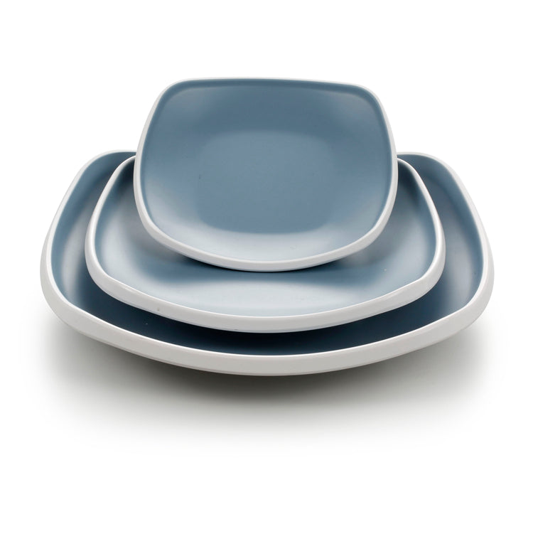 10 Inch Blue and White Square Melamine Deep Plates 25024LBSS