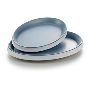 9.1 Inch Blue and White Oval Melamine Charger Plates 25030LBSS