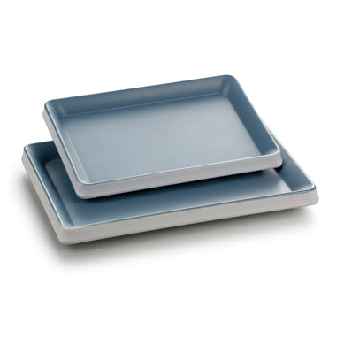 10.2 Inch Blue and White Rectangular Melamine Snack Plates 25033LBSS
