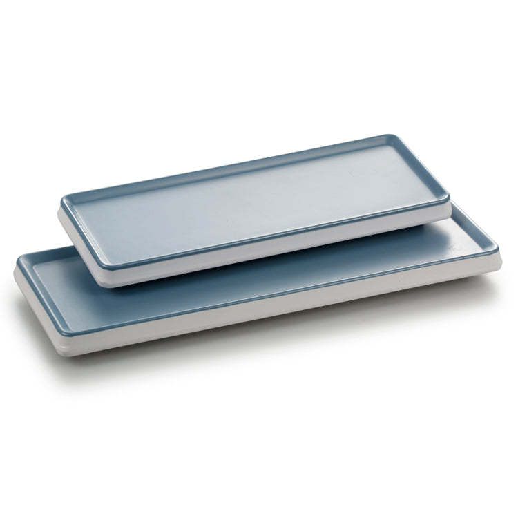13.2 Inch Blue and White Rectangular Melamine Cake Plates 25036LBSS