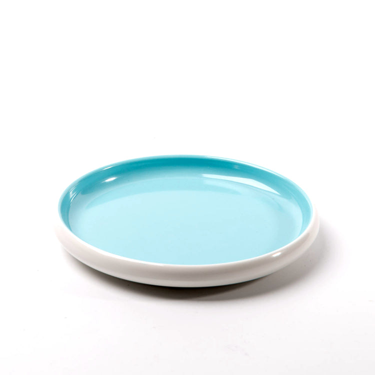 7.1 Inch Cyan and White Round Melamine Food Plate 25043QBSS