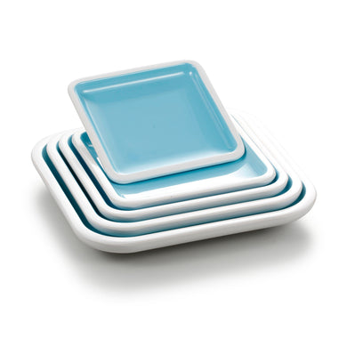 5.4 Inch Cyan and White Rectangular Melamine Food Plate BT18014QBSS