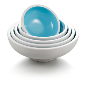 5.5 Inch Cyan and White Round Melamine Bowl BT18019QBSS