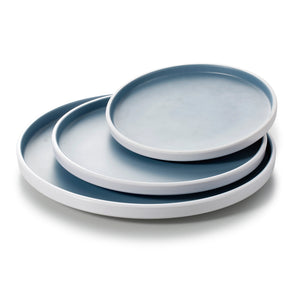 8.1 Inch Blue and White Round Melamine Flat Plates M228216LBSS