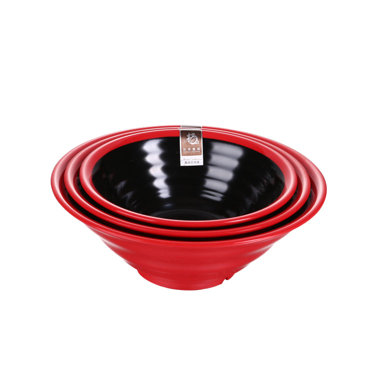 7 Inch Red and Black Large Melamine Ramen Bowls SS001HOBH