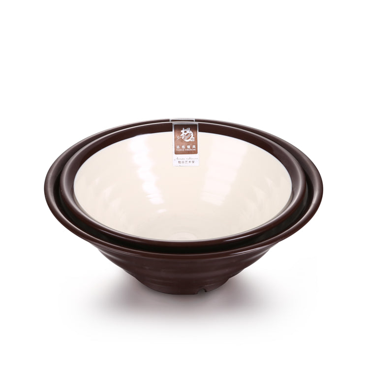 7 Inch Brown and White Large Melamine Ramen Bowls SS001KBB