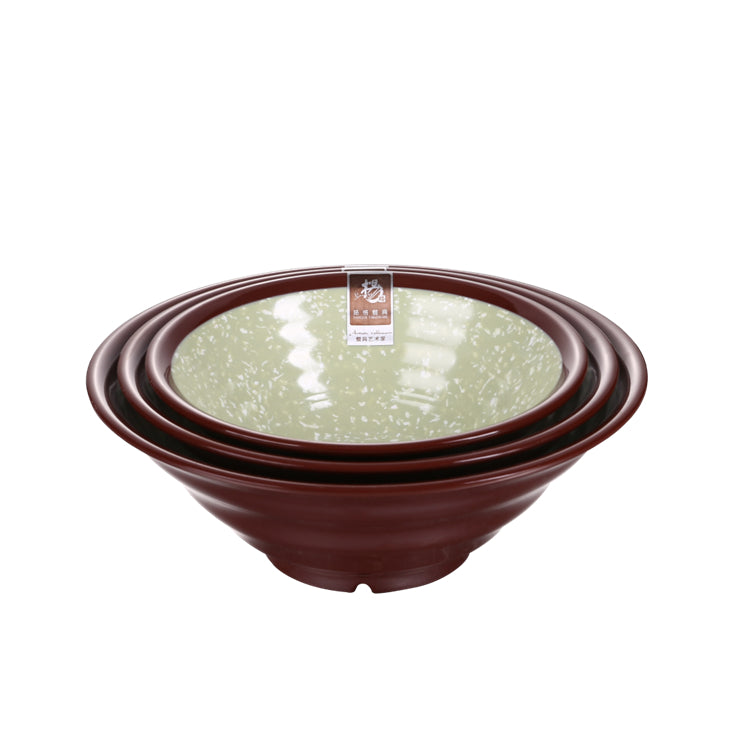 7 Inch Green and Brown Design Melamine Ramen Bowls SS001KLVD