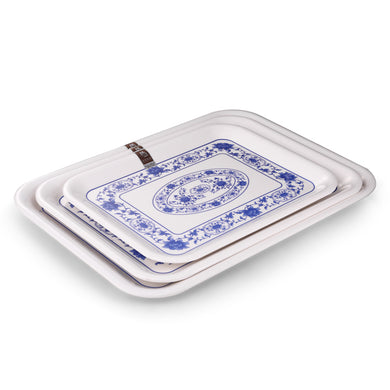 12.8 Inch Flower Design Rectangular Melamine Serving Trays 8021ALMD