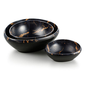6.5 Inch Flower Design Black Melamine Rice Bowls 27004HJ