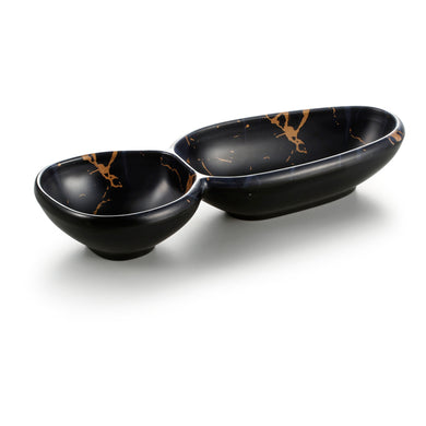 11.2 Inch Flower Design Black 2 Compartment Melamine Dip Bowls 27007HJ