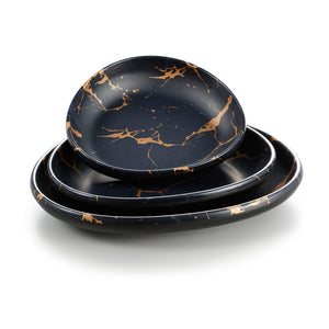 8.5 Inch Flower Design Black Melamine Triangle Plate 27018HJ
