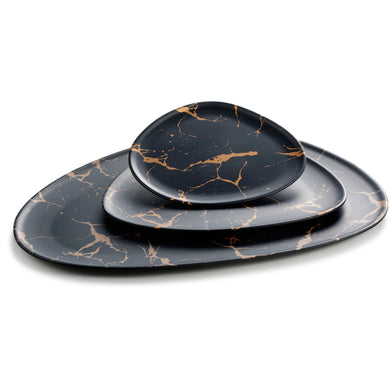 17.5 Inch Flower Design Black Melamine Triangle Plates M618260HJ