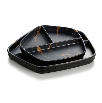 8.5 Inch Flower Design Black Melamine 3 Compartment Plates ZT042HJ