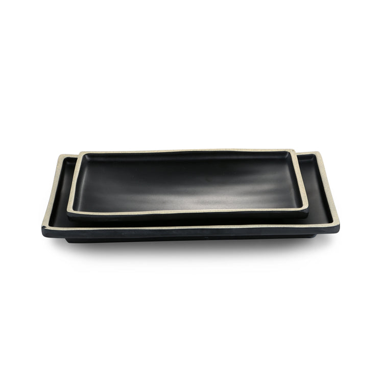 8.4 Inch Black with White Rim Melamine Rectangular Plates DAA310085BBH