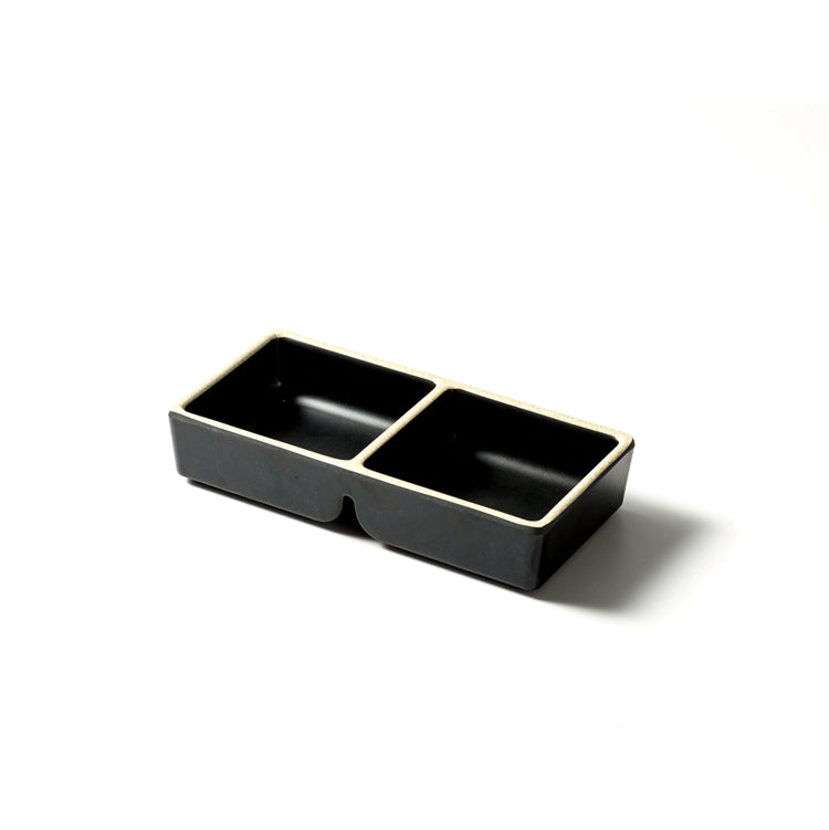 5.9 Inch Black and White Melamine divided Sauce Dish DAA700065BBH
