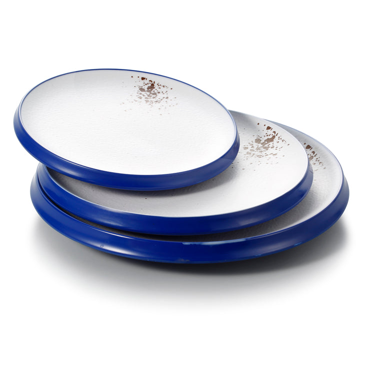 9.1 Inch White and Blue Melamine Round Flat Plates 25013SLBYD