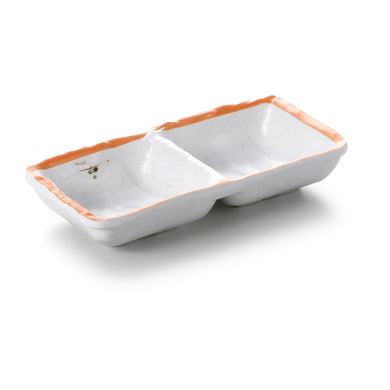 6.2 Inch Orange Rim Melamine 2 Compartment Sauce Dish JM169112YYZQ
