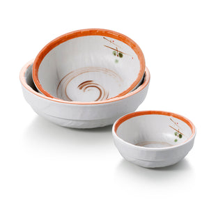 4.5 Inch Korean Orange Rim Melamine Bowls JM16959YYZQ