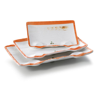 10.8 Inch Orange Rim Rectangular Melamine Charger Plates JM16975YYZQ