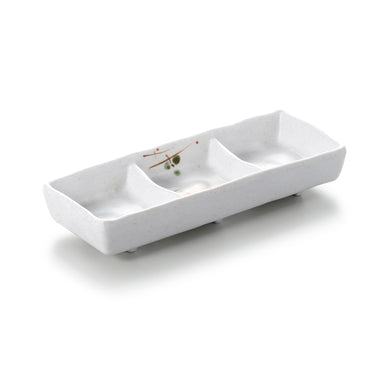 7 Inch White Melamine 3 Compartment Sauce Dish WT638YYZQ