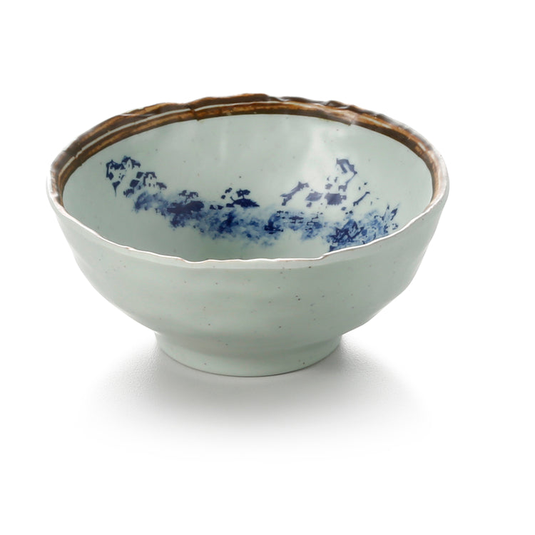 4.5 Inch Blue with Brown Rim Melamine Rice Bowl JM169107YYJN