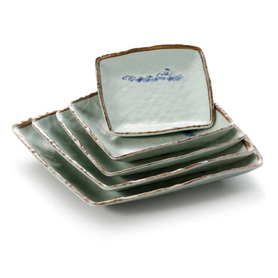 6.8 Inch Blue with Brown Rim Melamine Square Plates JM169118YYJN