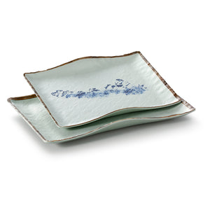 10.6 Inch Blue with Brown Rim Melamine Rectangular Plates JM16913YYJN