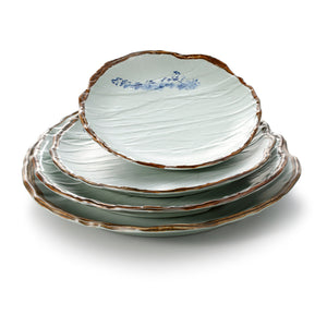 13.8 Inch Blue with Brown Rim Melamine Round Plates JM16942YYJN