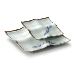 10.6 Inch Blue with Brown Rim Melamine Divided Plates JM16952YYJN